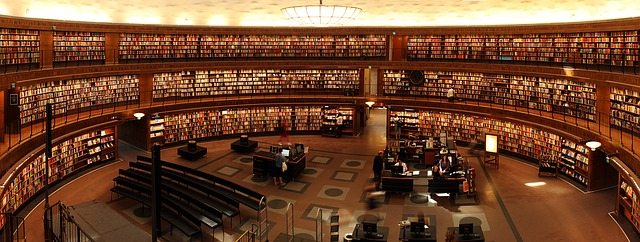 Now here is a magical environment! Enough books to be going on with for one thing! Image via Pixabay.