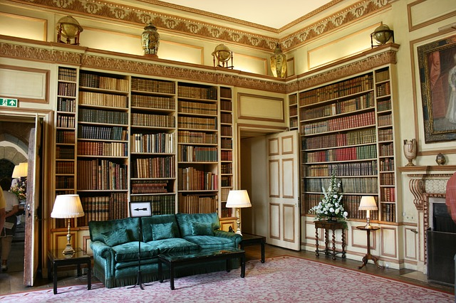 My library is not so huge or grand but precious all the same. Love this image though. It is the library at Leeds Castle. Image via Pixabay.