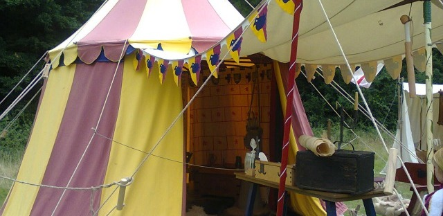 The scribe's tent at the Medieval Weekend held in Hampshire earlier this summer. Image taken by me.