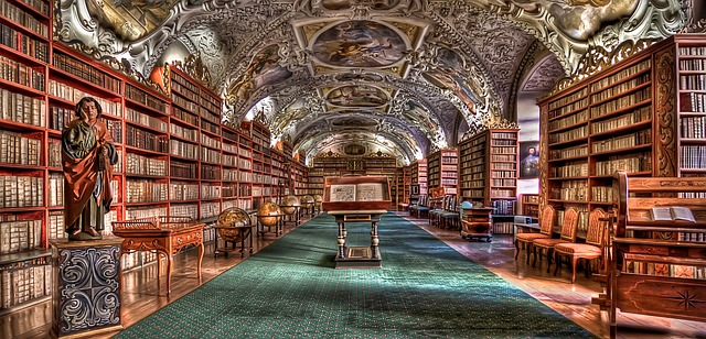 I could spend many a happy hour here - the library at Prague. Image via Pixabay.