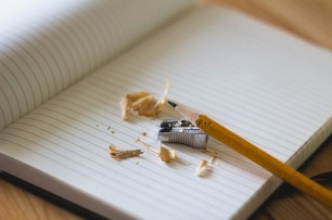 Where many a first draft starts life. Old technology still has its uses! Image via Pixabay.