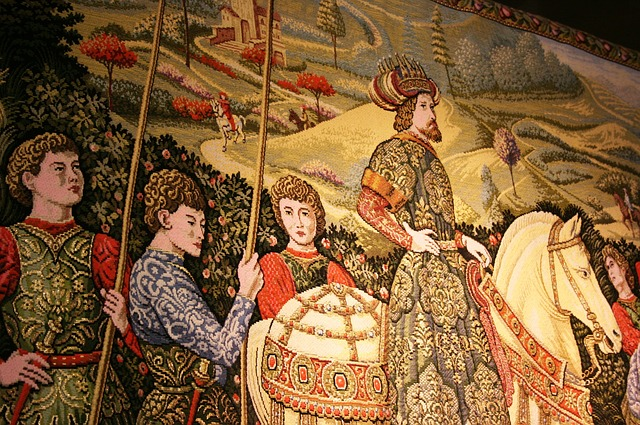 Tapestries told stories - the Sir Bevis of Hampton legends just being part of this. Image via Pixabay.