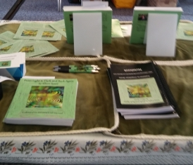 Part of my Book Fair stand (from behind the table!).
