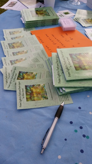 At the Book Fair earlier this year, looking forward to Winchester Discovery Centre event. Image by Allison Symes