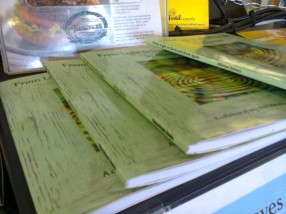 My book on sale at Bay Leaves Larder, a wonderful local cafe that does a lot to support writers in the area.