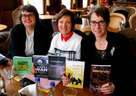 Paula Readman, Dawn Kentish Knox and I celebrate where our stories have appeared! Many thanks to Paula Readman for the picture.!