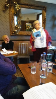 Gill James reading from her January Stones collection. Image by Allison Symes