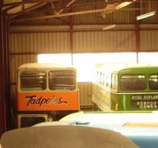 The buses looking more at home in here than on snow! Image via Gail Aldwin