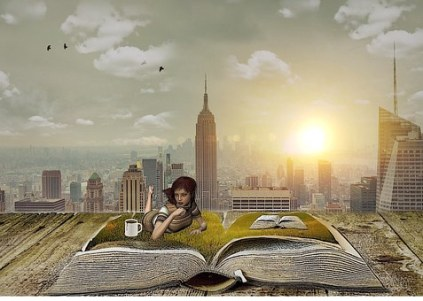 Even in the heart of a city, books can provide escapism. Image via Pixabay.