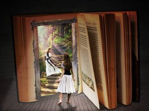 Books invite you into their world. Go! Image via Pixabay.