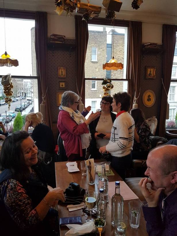 Gill James talks with Dawn Knox and I at a networking event held by Bridge House Publishing last December. Am glad to report Dawn will also be in the Waterloo Festival Anthology. Image from Paula Readman and thanks to her for permission to use it.