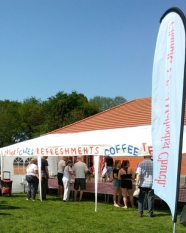 Practically everyone stopped off at the refreshment tent at some point. Image by Allison Symes
