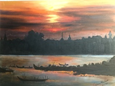 The Mekong River At Phnom Penh , Cambodia Oil painting. Just one of Graham MacLean's fantastic artworks. Look at that light! Image kindly supplied by Graham MacLean