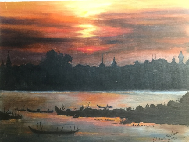 The Mekong River At Phnom Penh , Cambodia Oil painting.