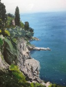 The wild Croatian coastline outside Dubrovnik. Painting and image by Graham MacLean