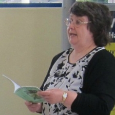 My reading at my signing at our local railway station. Image taken by Janet Williams, CFT editor.