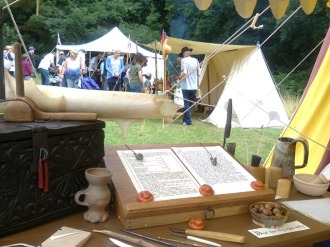 The medieval scrivener's wares. Image by Allison Symes