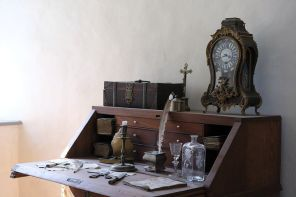 My writing desk is nowhere near as elegant as this one. Pixabay image.