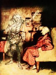 Jacob Marley haunts Scrooge. Pixabay image.