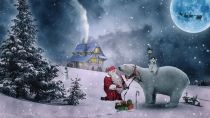 HOW did Santa get down from his sleigh? Look at where he's parked it! Pixabay image.