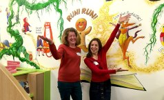 Sally Goodden and Anne Wan at the mural at a local Chandler's Ford school. Image by Anne Wan.