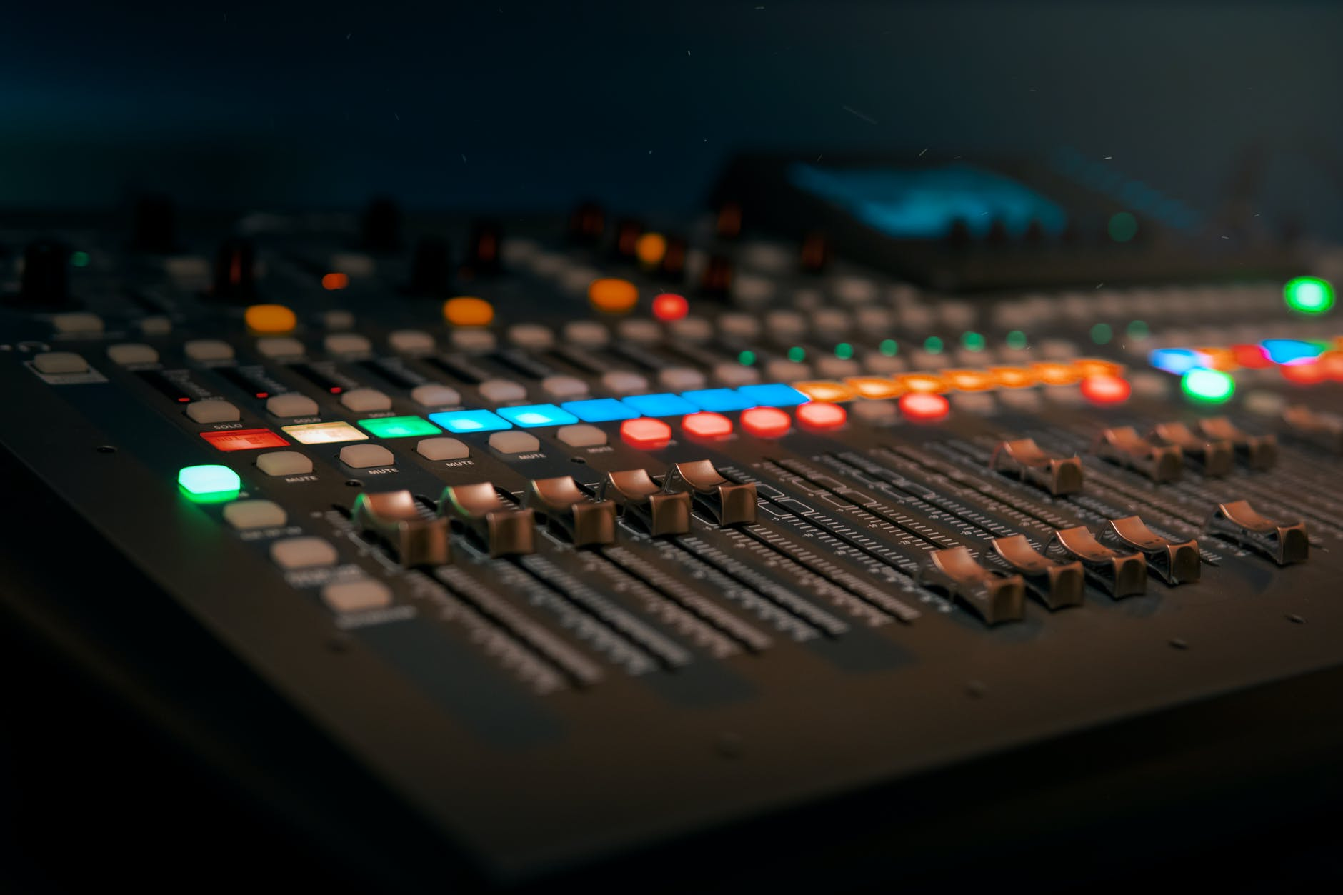 photo of a copper audio mixer
