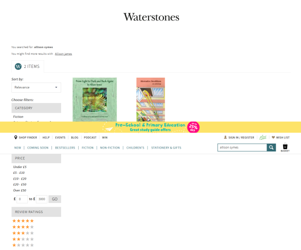 SCREENSHOT - Allison Books on Waterstones online