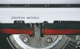 black and red typewriter