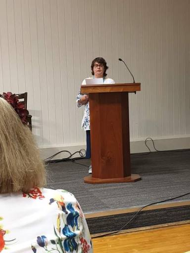 Yours truly taking part at the Open Prose Mic Night at Swanwick 2019 - image kindly taken by Penny Blackburn