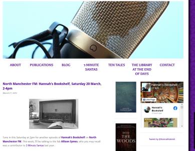 Screenshot_2021-03-17 North Manchester FM Hannah's Bookshelf, Saturday 20 March, 2-4pm - Hannah Kate(1)