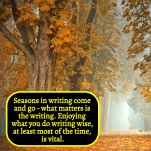 SEASONS IN WRITING - Enjoying what you write at least most of the time is vital
